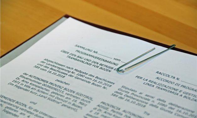Tram a Bolzano, firmato l'accordo di programma
